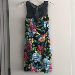 Aidan Mattox black flower print dress size 0